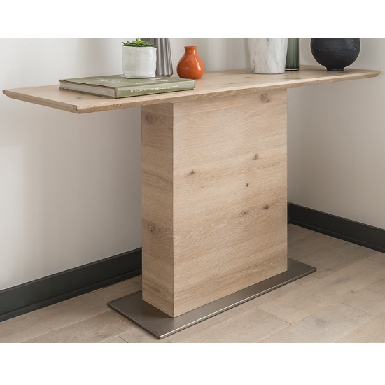 Cypress Wooden Console Table In Natural Oak With Metal Base