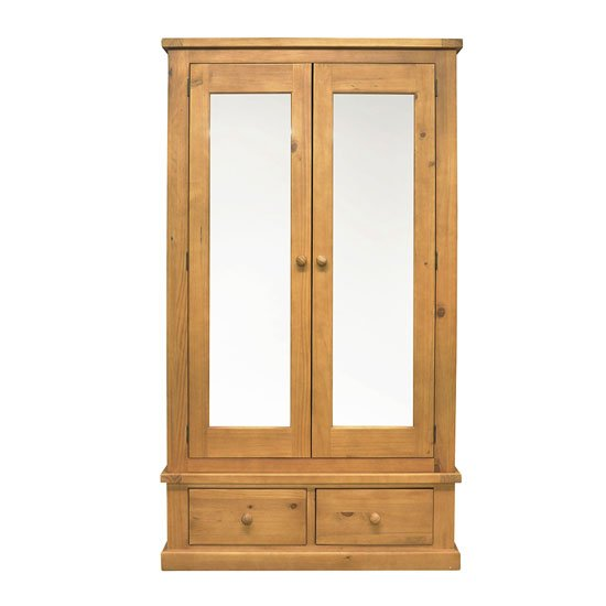 Cyprian Wooden Double Door Wardrobe In Chunky Pine With Mirror