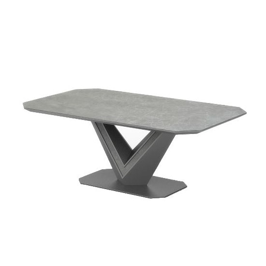 Cyprus Coffee Table In Grey Matt And Ceramic With Steel Frame