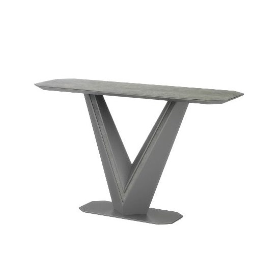 Cyprus Console Table In Grey Matt And Ceramic With Steel Frame