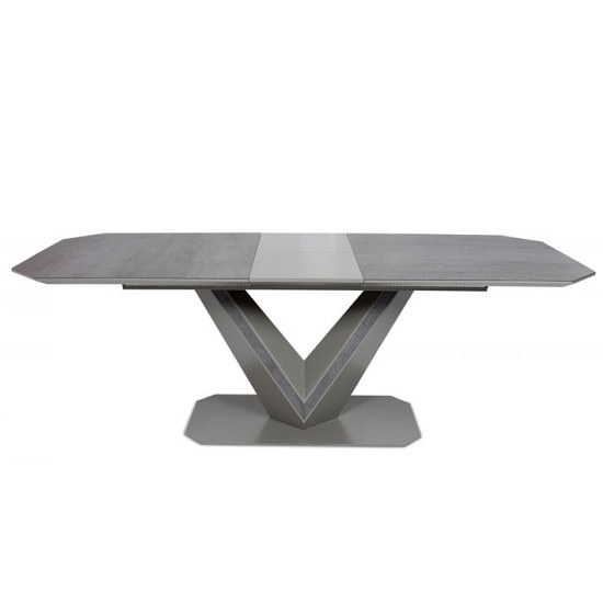 Cyprus Extendable Dining Table In Grey Matt And Ceramic