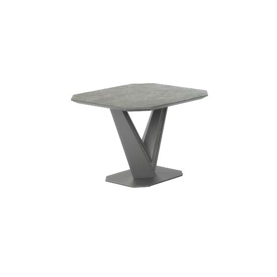 Cyprus Side Table In Grey Matt And Ceramic With Steel Frame