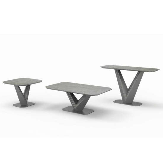 Cyprus Coffee Table In Grey Matt And Ceramic With Steel Frame_2
