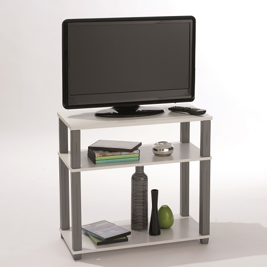 cyprus modern tv stand in white with shelves