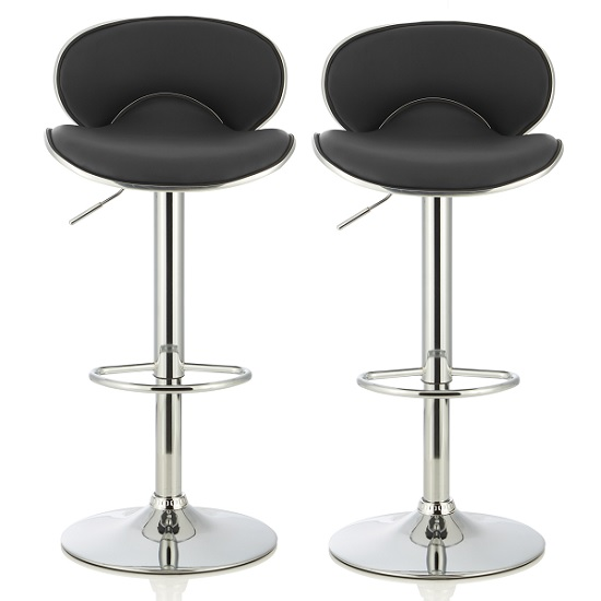 Cyrus Modern Bar Stool In Black Faux Leather In A Pair