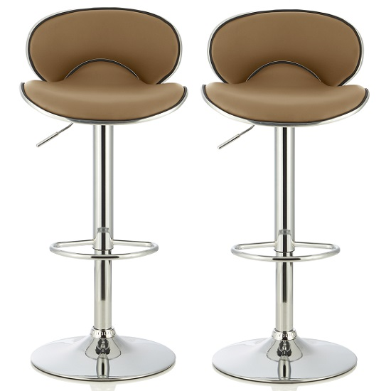 Cyrus Modern Bar Stool In Taupe Faux Leather In A Pair
