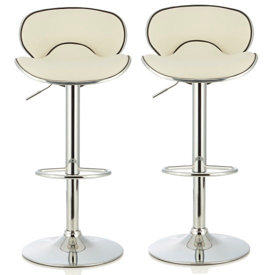 Cyrus Modern Bar Stool In White Faux Leather In A Pair