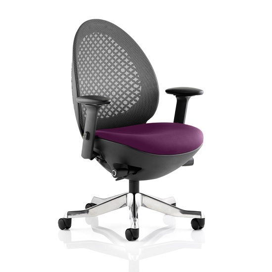 Read more about Cyrus home office chair in purple with castors
