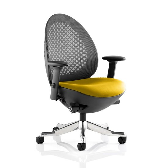 Read more about Cyrus home office chair in yellow with castors