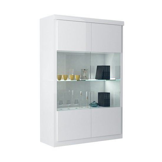 Dabria Large Glass Display Cabinet In White Gloss With LED Light
