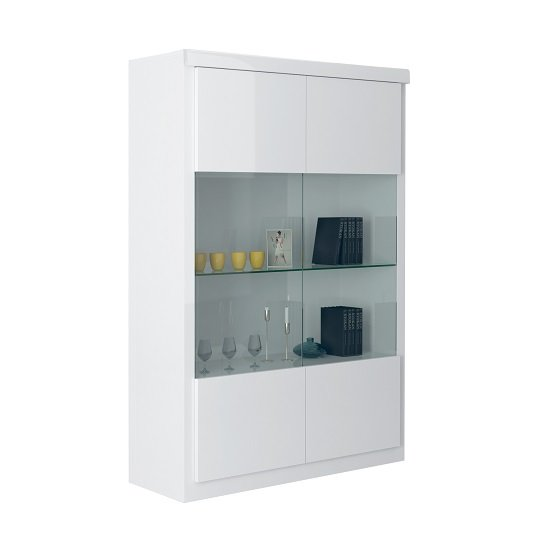 Dabria Large Glass Display Cabinet In White Gloss With LED Light_2