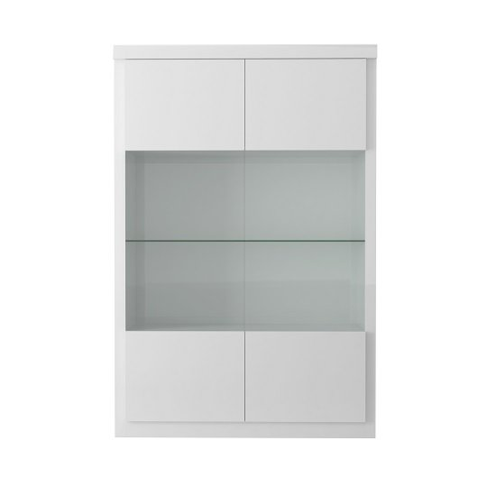 Dabria Large Glass Display Cabinet In White Gloss With LED Light_3