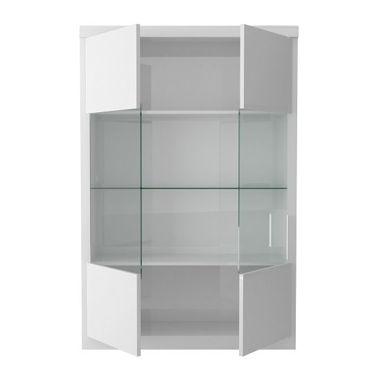 Dabria Large Glass Display Cabinet In White Gloss With LED Light_4
