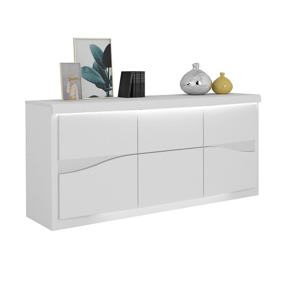 Dabria Large Wooden Sideboard In White Gloss With LED Lights_1