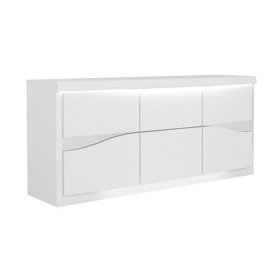 Dabria Large Wooden Sideboard In White Gloss With LED Lights_2
