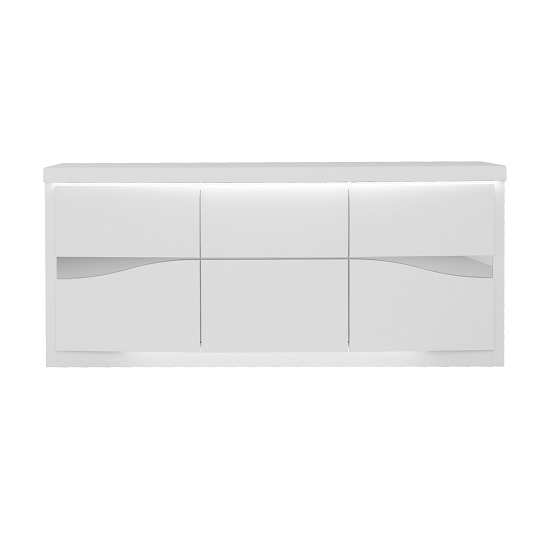 Dabria Large Wooden Sideboard In White Gloss With LED Lights_3
