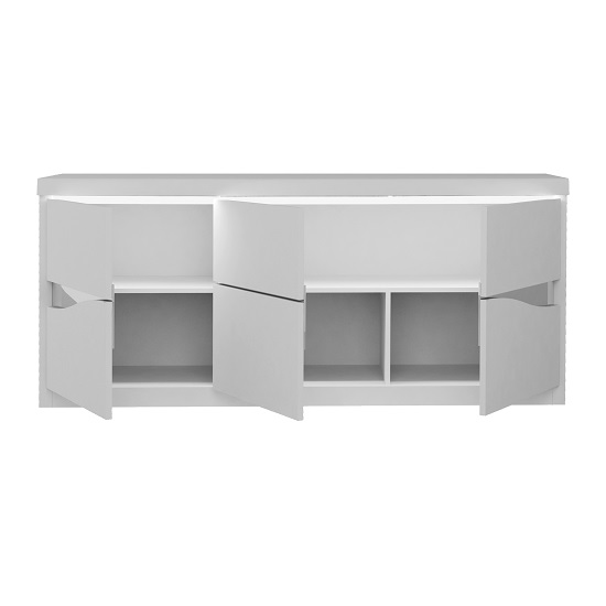 Dabria Large Wooden Sideboard In White Gloss With LED Lights_4