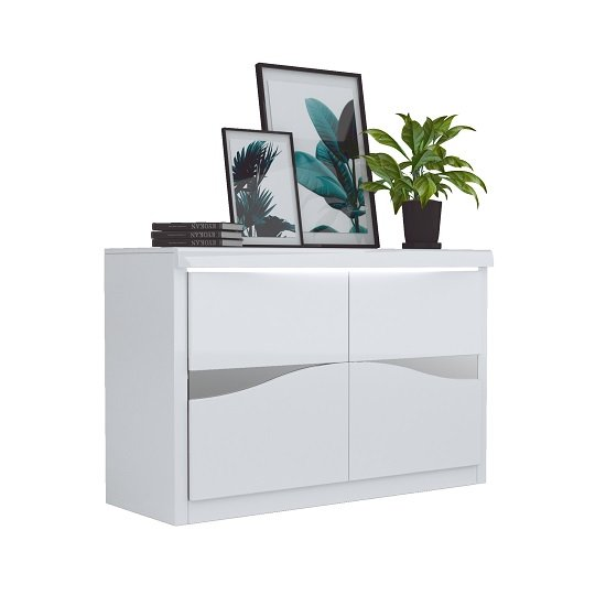 Dabria Small Wooden Sideboard In White Gloss With LED Lights