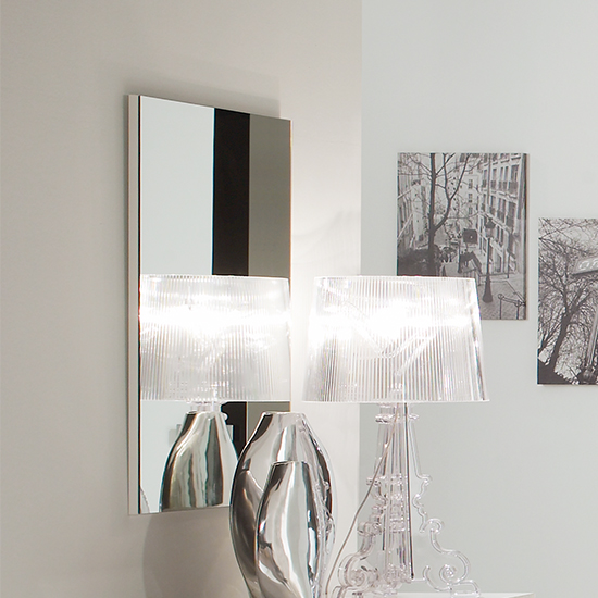 Dafne Wall Mirror In White And Black Gloss Lacquer Wooden Frame_1