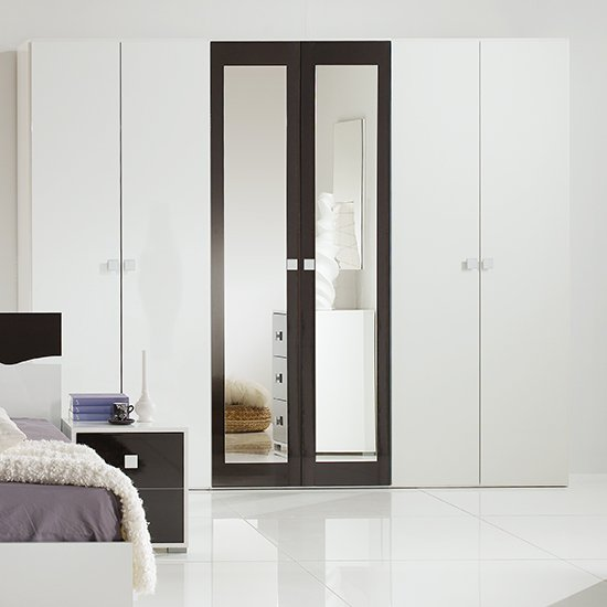 Dafne Wooden 6 Doors Wardrobe In White And Black Gloss Lacquer