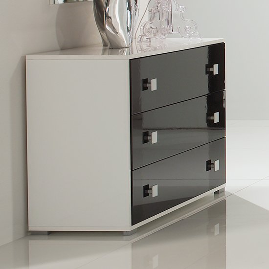 Dafne Wooden Chest Of Drawers In White And Black Gloss Lacquer