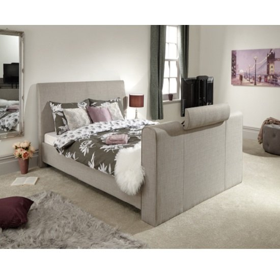 Product photograph showing Dagmar Fabric Pneumatic Tv Bed In Light Grey
