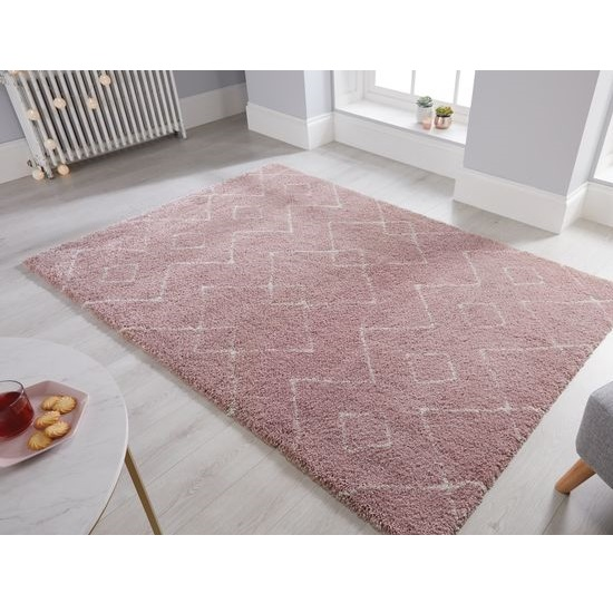 Dakari Imari Polypropylene Pink And Cream Finish Rug
