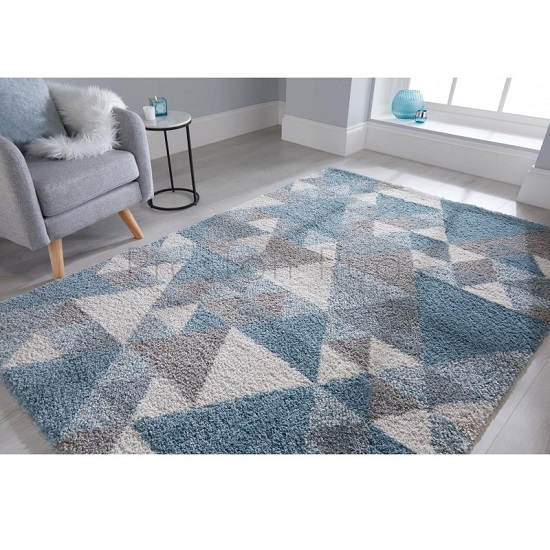 Dakari Nuru Blue And Cream And Grey Finish Rug