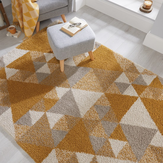 Dakari Nuru Ochre And Cream And Grey Finish Rug