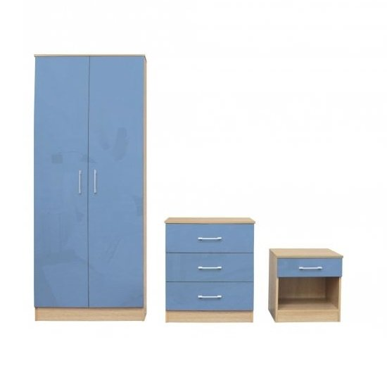 Dakoto Bedroom Set In Blue Gloss And Matt Oak Finish