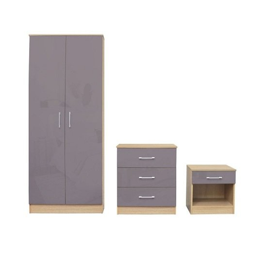 Dakoto Bedroom Set In Grey Gloss And Matt Oak Finish