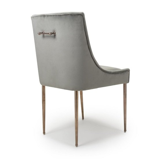 Dalby Dining Chair In Brushed Velvet Grey With Gold Legs_2