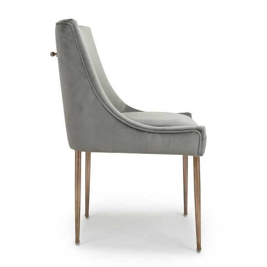 Dalby Dining Chair In Brushed Velvet Grey With Gold Legs_3