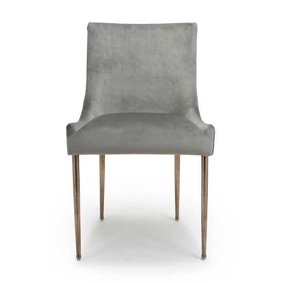 Dalby Dining Chair In Brushed Velvet Grey With Gold Legs_4