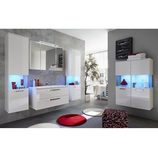 Dale Wall Mount Bathroom Storage Cabinet White High Gloss LED_3
