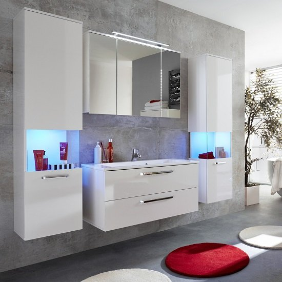 Dale Wall Mount Bathroom Furniture Set White High Gloss LED