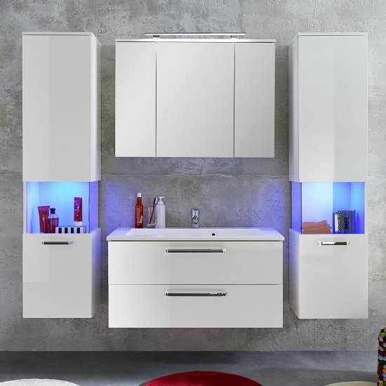 Dale Wall Mounted Left Bathroom Cabinet White High Gloss And LED_4