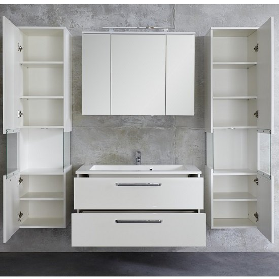 Dale Wall Mounted Left Bathroom Cabinet White High Gloss And LED_3