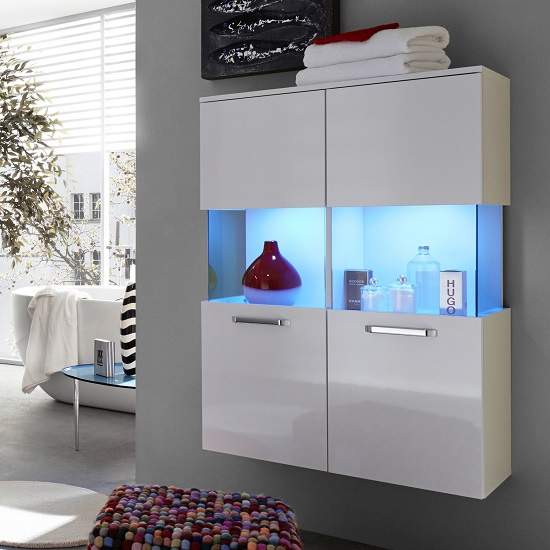 Dale Wall Mount Bathroom Storage Cabinet White High Gloss And Led