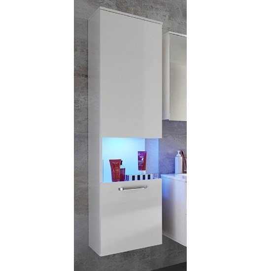 Dale Wall Mounted Left Bathroom Cabinet White High Gloss And LED_6