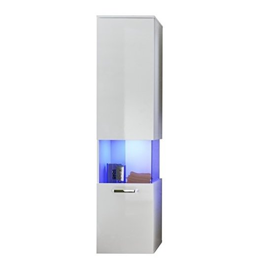 Dale Wall Mounted Left Bathroom Cabinet White High Gloss And LED