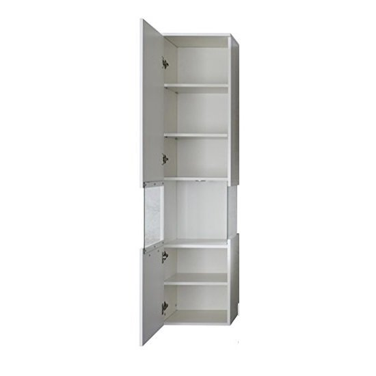 Dale Wall Mounted Left Bathroom Cabinet White High Gloss And LED_7