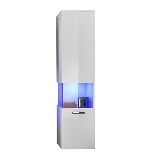 Dale Wall Mount Right Bathroom Cabinet White High Gloss And LED