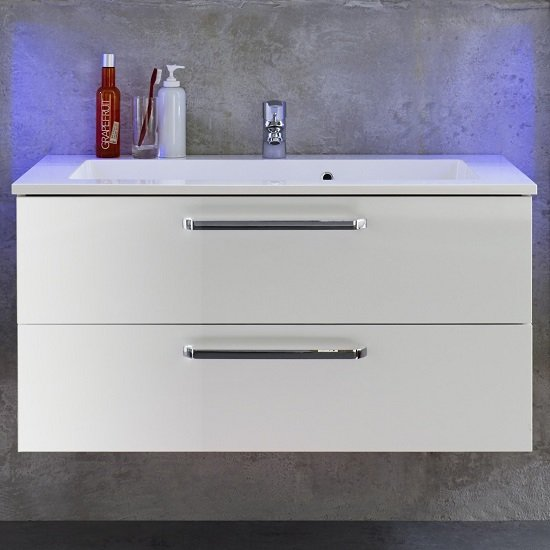 Dale Wall Mounted Vanity Cabinet White High Gloss With Washbasin_2