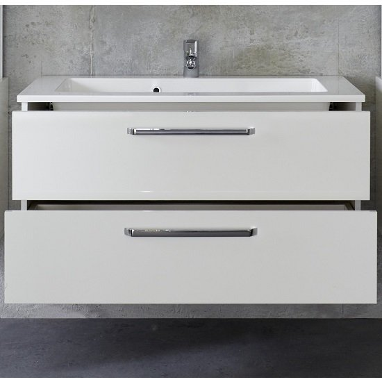 Dale Wall Mounted Vanity Cabinet White High Gloss With Washbasin_3