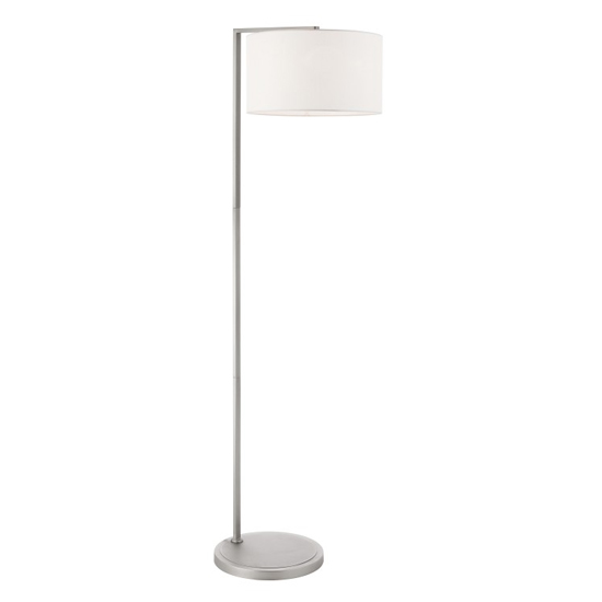 Daley Floor Lamp In Nickel And White Faux Silk