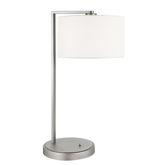 Daley Table Lamp In Nickel And White Faux Silk