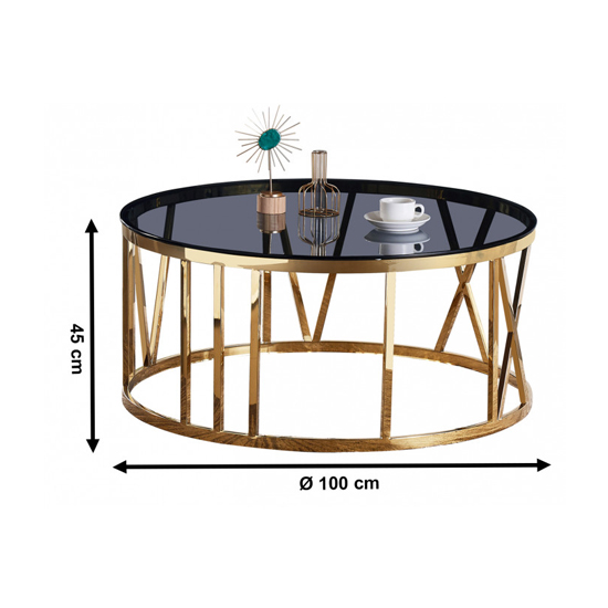Dalila Black Glass Coffee Table With Gold Stainless Steel Legs_4
