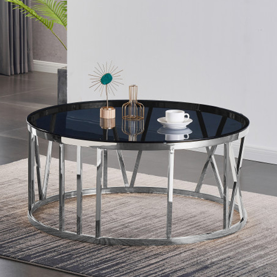 Dalila Black Glass Coffee Table With Silver Stainless Steel Legs