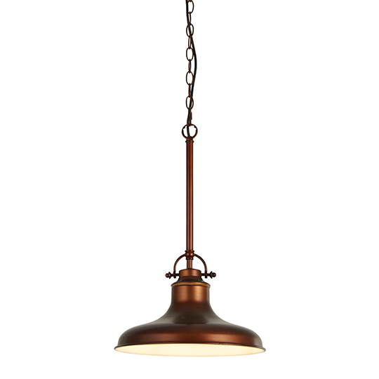Dallas 1 Light Industrial Pendant Ceiling Light In Antique Brown